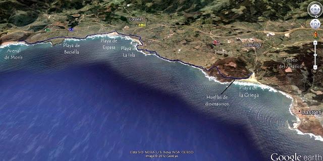 Mapa Ruta Costera La Griega Arenal de Moris